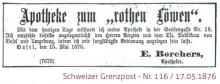 """Eröffnungsinserat der """"Apotheke zum rothen Löwen"""""""